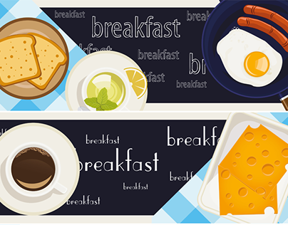 Vector breakfast time illustration with food and coffee