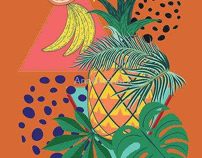 Abstract pineapple with exotic leaves