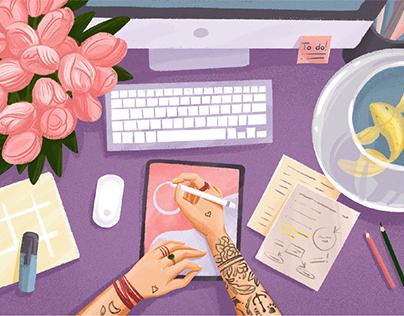 Digital Art: Creative Workspace Illustrations
