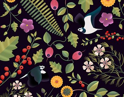 Birds & Fauna pattern