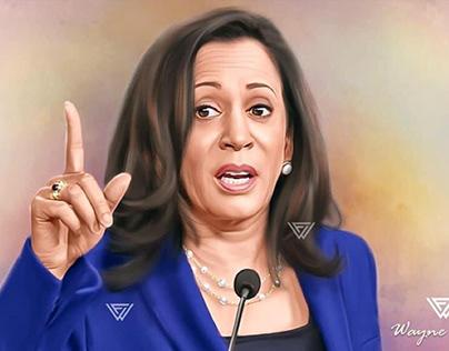 Kamala Harris Digital Painting by Wayne Flint