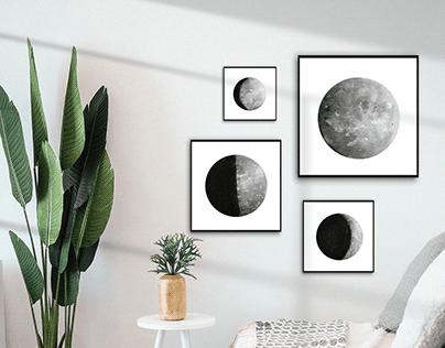 Free Moon Phases Printable Wall Art