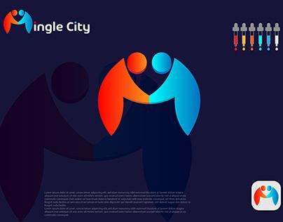 M letter Mingle City brand logo design