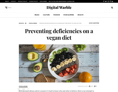 Blog Post: Vegan Diet | Digital Warble