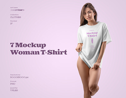 7 Mockups Woman T-Shirt Oversize + 1 Free