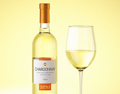 Chardonnay Glass Bottle 3D model pack