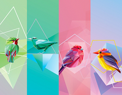Geometric birds collection- graphic resources