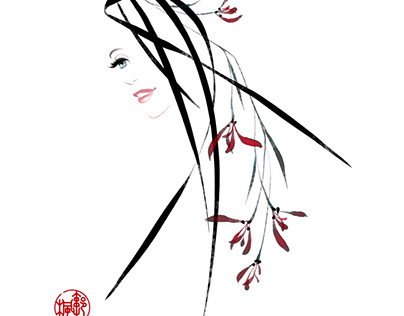 Digital Ink Painting Orchid 2