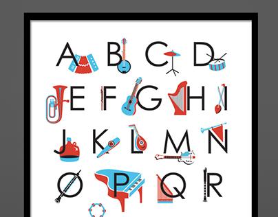 Musical Instrument Alphabet Print
