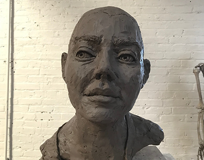 "Portrait Bust 2, Water Based Clay, 12""x12""x16""- 2017"