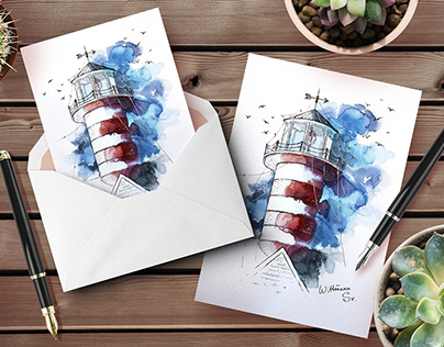 Lighthouses original watercolor illustrations.