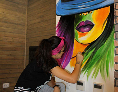 Colorful girl mural