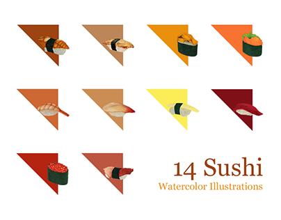 14 Sushi Watercolor Illustrations