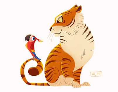 Character designs - Tiger & parrot