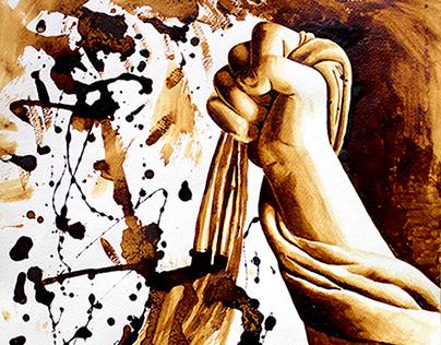 Losing Grip (Coffee Painting)
