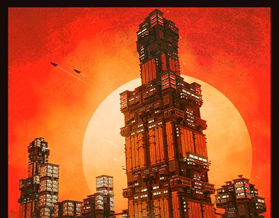 The Burning Men - Voxelart illustration
