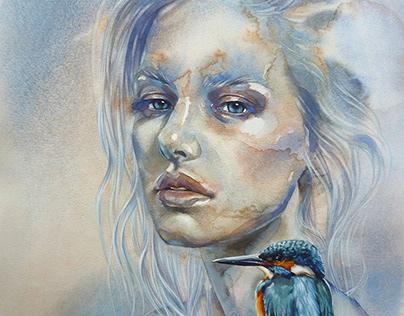 """Blue"". Watercolor."