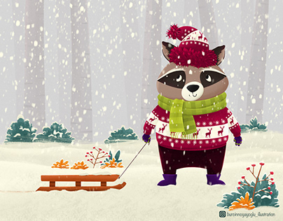 Raccoon And Snowy Weather