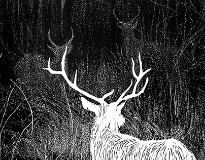 Linocut deers in the forest