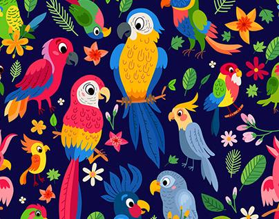Tropical collection of parrots. Brazil jungle flora