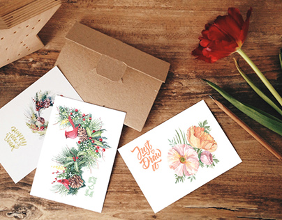 Postcards for school of watercolor ARTspot