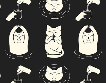 Tea drinking cat
