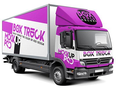 Free Mercedes-Benz Atego Box Truck Mockup
