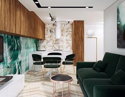 Ultranowoczesny Salon Z Zielonym Akcentem