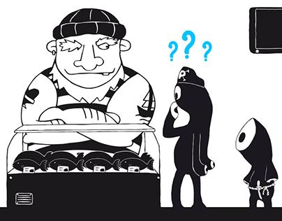 Digitale Werbung im Seemannsladen - Animation
