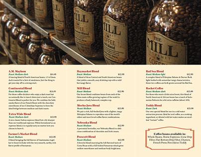 The Mill Coffee tri-fold brochure