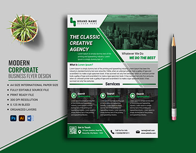 Corporate Business Flyer Design Free Template (Green)