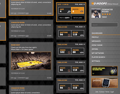 UHoops Interface Design - The LinkedIn of Basketball