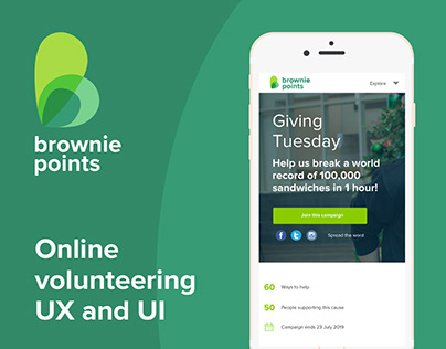 UX / UI Design for good causes on Brownie Points
