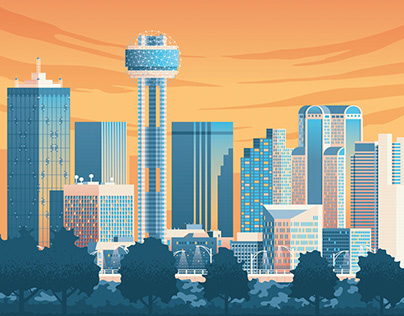 Dallas Texas Retro Travel Poster City Illustration
