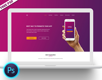 FREE PSD | Money Exchange App Landing Page Design