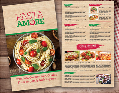 Pasta Amore | Menu, Table Tent and Brochure