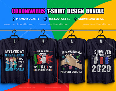 Coronavirus (COVID-19) T-Shirt Design Bundle V.3