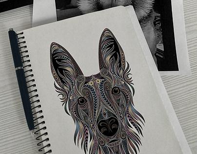 Vector dog portrait