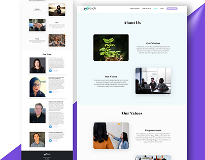 Gocoach Business Website About Page UI