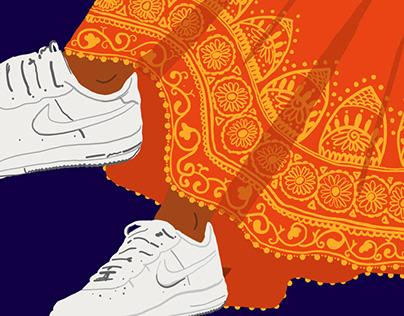 Sneakers and Lehenga
