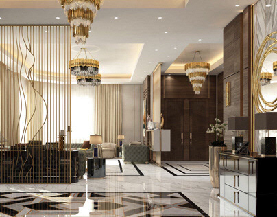 Contemporary Entrance Hall and Dining | Kuwait