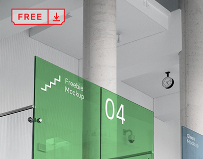 Free Office Glass Mockup