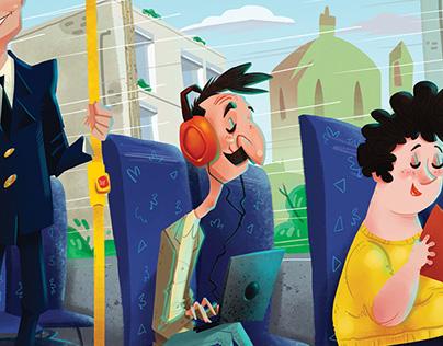 Transport Malta Illustrated Posters