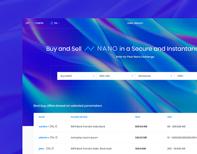 Cryptocurrency exchange platform - dashboard design