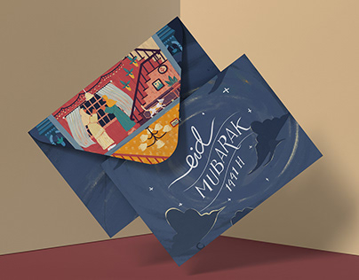 Eid al Fitr Greeting Card Illustration