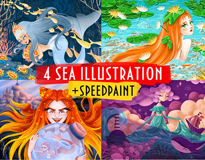 4 sea illustrations + speed paint