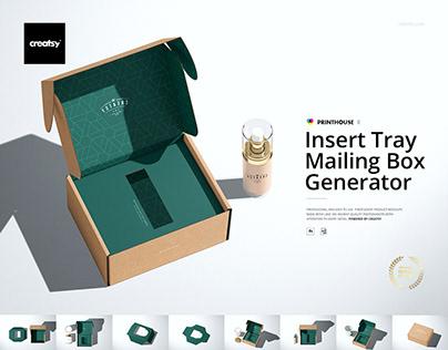 Insert Tray Generator Mailing Box Mockup Set