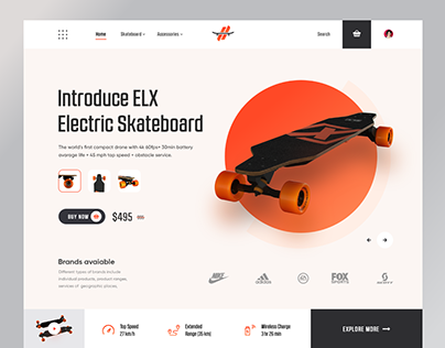 ELX Electric Skateboard - Product Landing Page