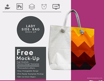 Lady side bag free mock up photoshop template