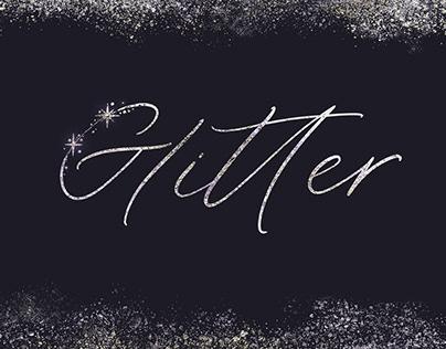 Glitter. Handwritten font with sparks